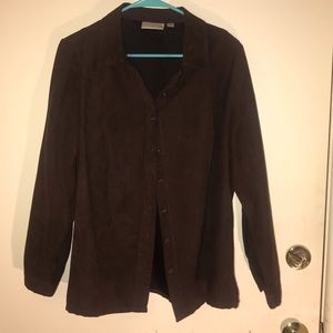 Studio Works brown suede dress shirt